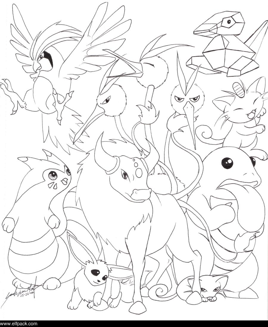 Pokemon kanto coloring pages -  052 Meowth And 137 Porygon I Love How Pidgeotto Turned Out I Hate How Rattata Looks I Neither Like Nore Dislike Normal Type Pokemon